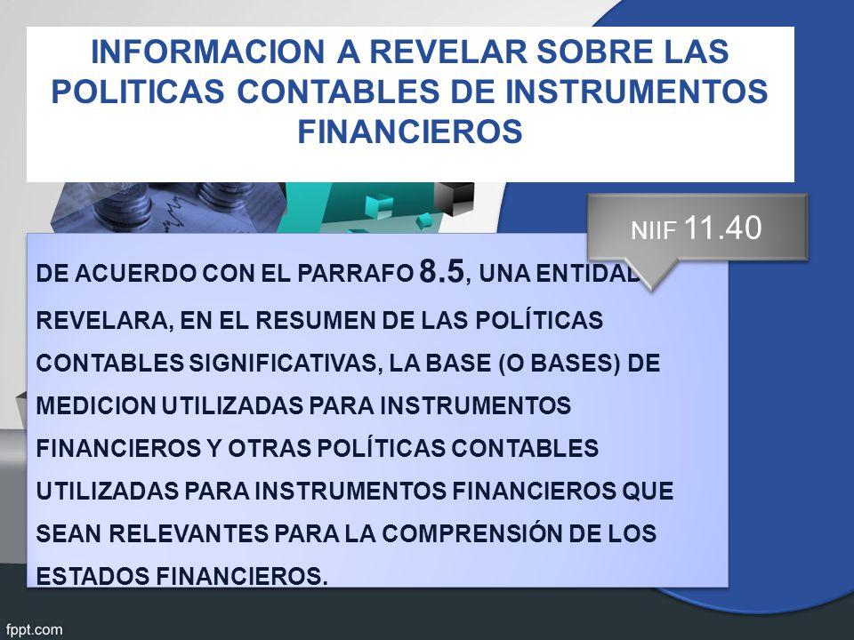 INFORMACION A REVELAR SOBRE LAS POLITICAS CONTABLES DE INSTRUMENTOS FINANCIEROS