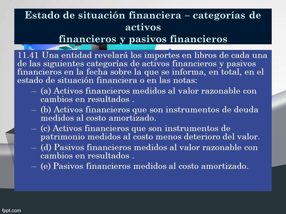 Estado de situación financiera – categorías de activos financieros y pasivos financieros