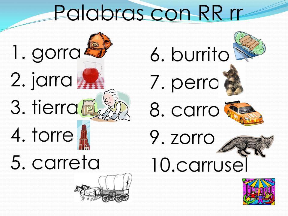 Palabras con RR rr 1. gorra 2. jarra 3. tierra 4. torre 5. carreta