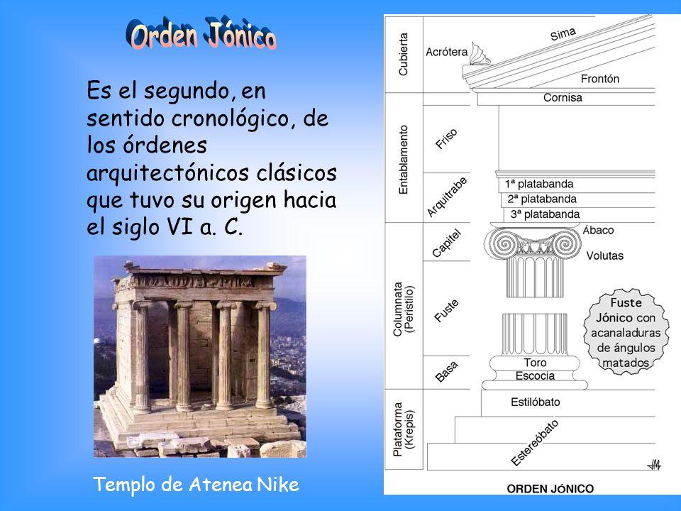 Orden Jónico Es el segundo, en sentido cronológico, de los órdenes arquitectónicos clásicos que tuvo su origen hacia el siglo VI a. C.