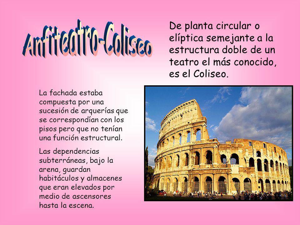 Anfiteatro-Coliseo De planta circular o elíptica semejante a la estructura doble de un teatro el más conocido, es el Coliseo.