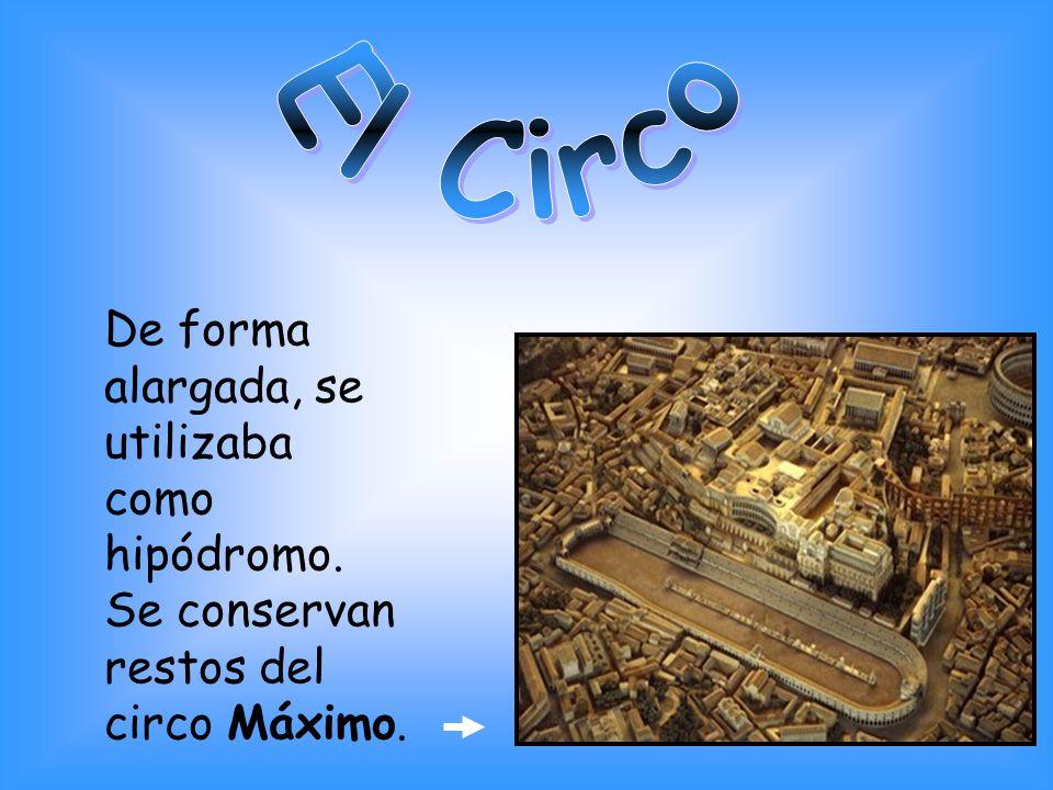 El Circo De forma alargada, se utilizaba como hipódromo. Se conservan restos del circo Máximo.