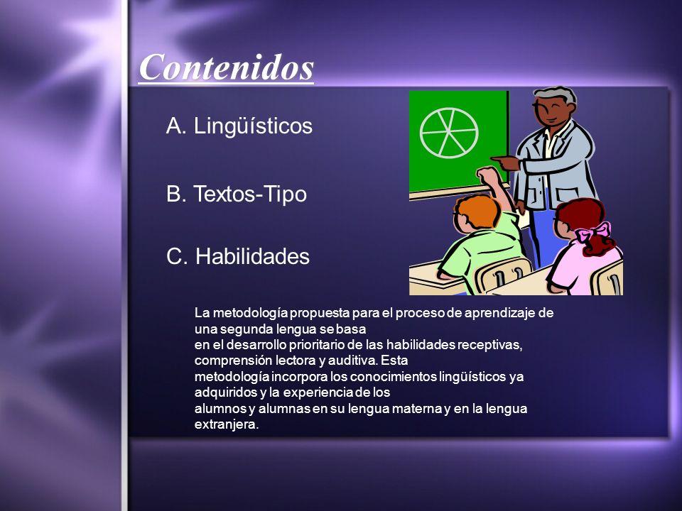 Contenidos A. Lingüísticos B. Textos-Tipo C. Habilidades