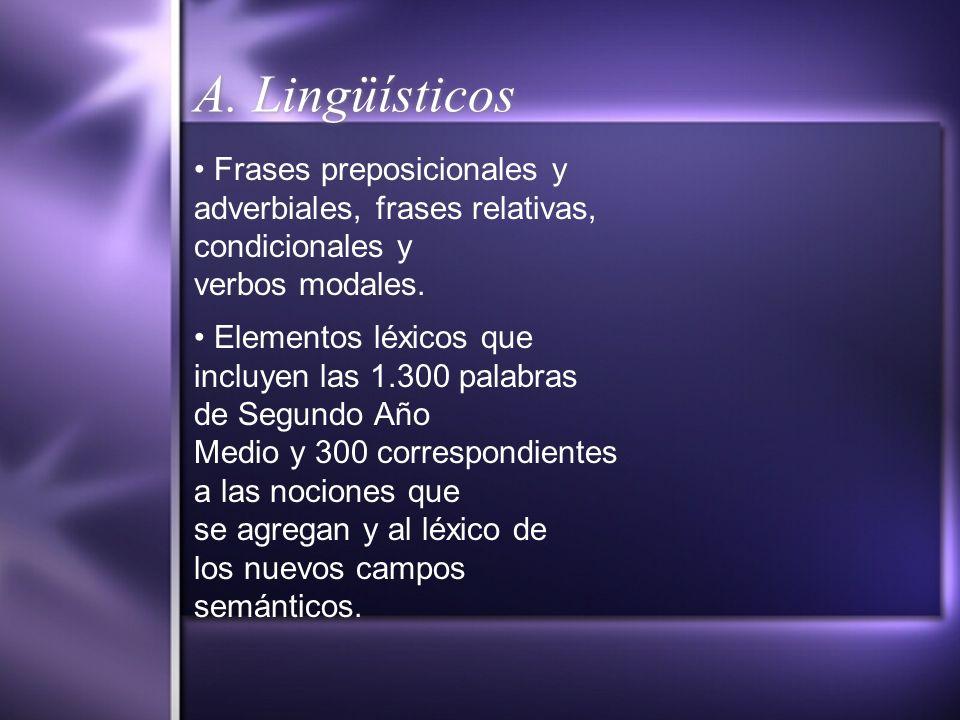 A. Lingüísticos • Frases preposicionales y