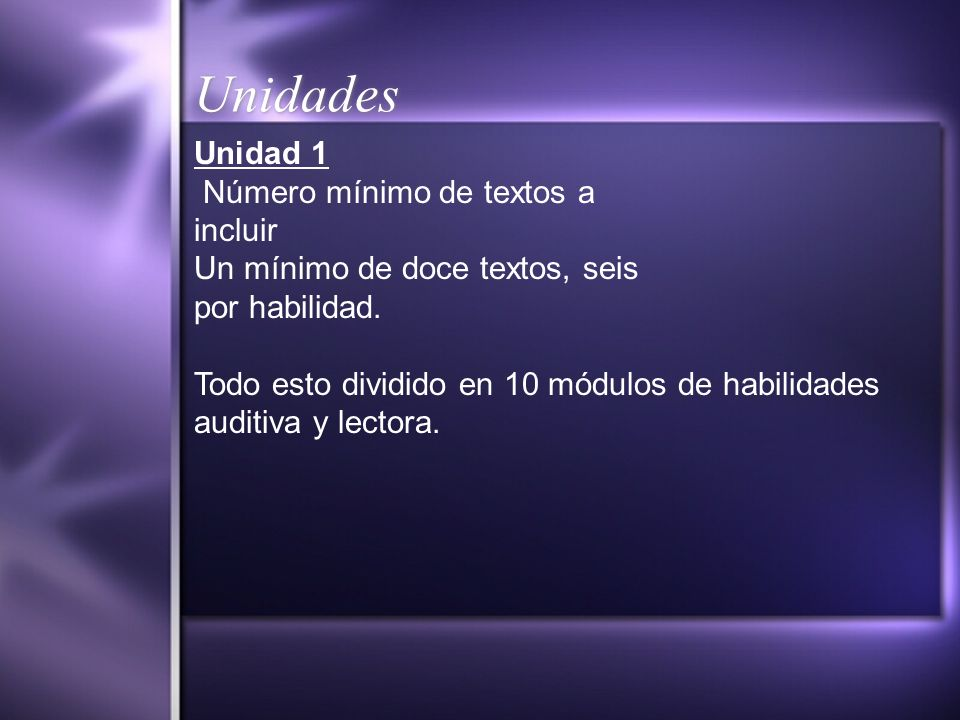 Unidades Unidad 1 Número mínimo de textos a incluir