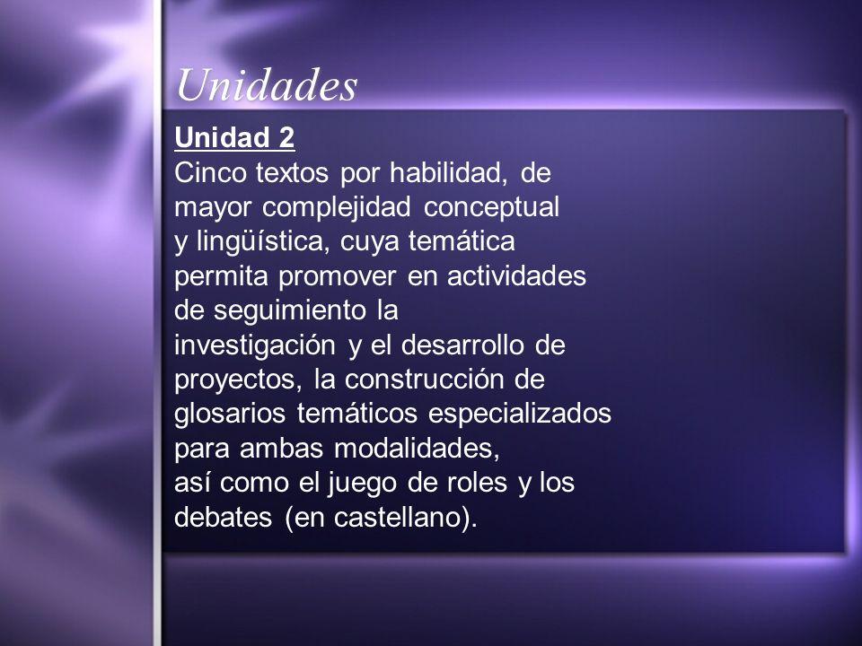 Unidades Unidad 2 Cinco textos por habilidad, de