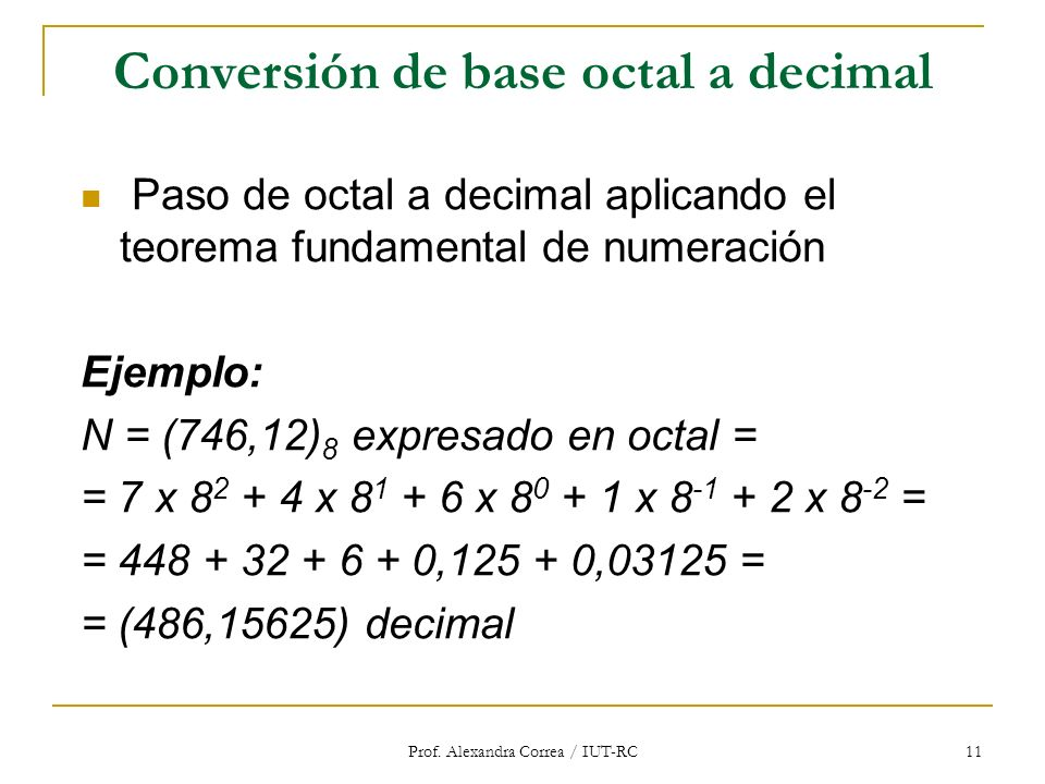 Conversión de base octal a decimal