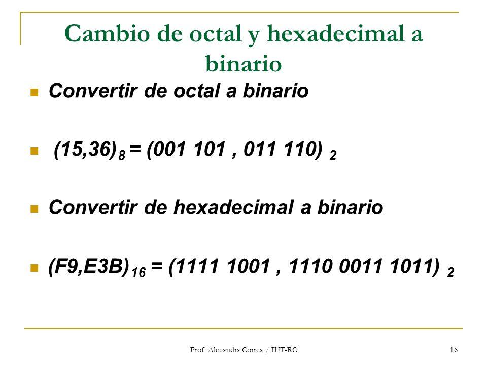 Cambio de octal y hexadecimal a binario