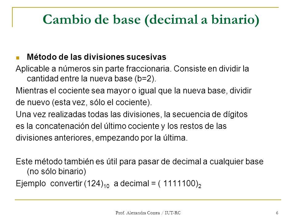 Cambio de base (decimal a binario)
