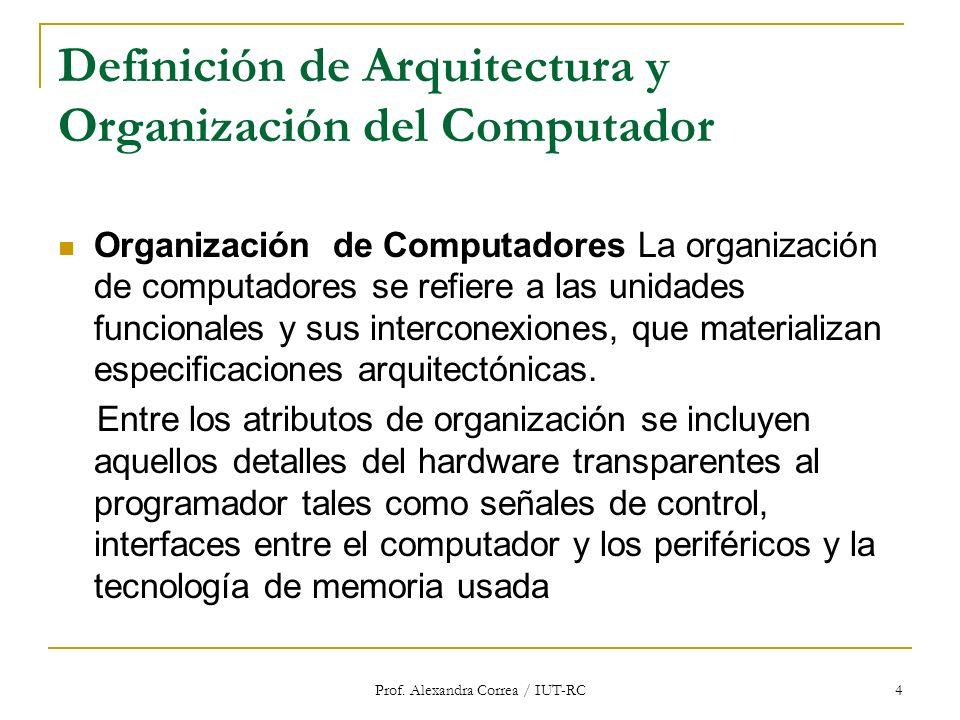 Definición de Arquitectura y Organización del Computador