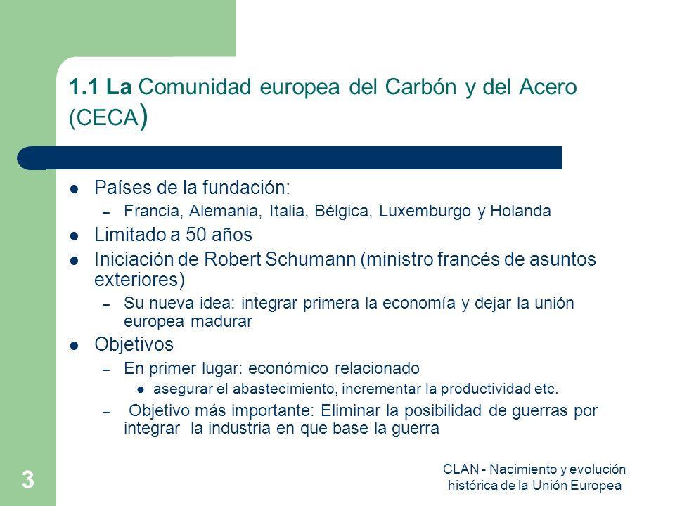 1.1 La Comunidad europea del Carbón y del Acero (CECA)