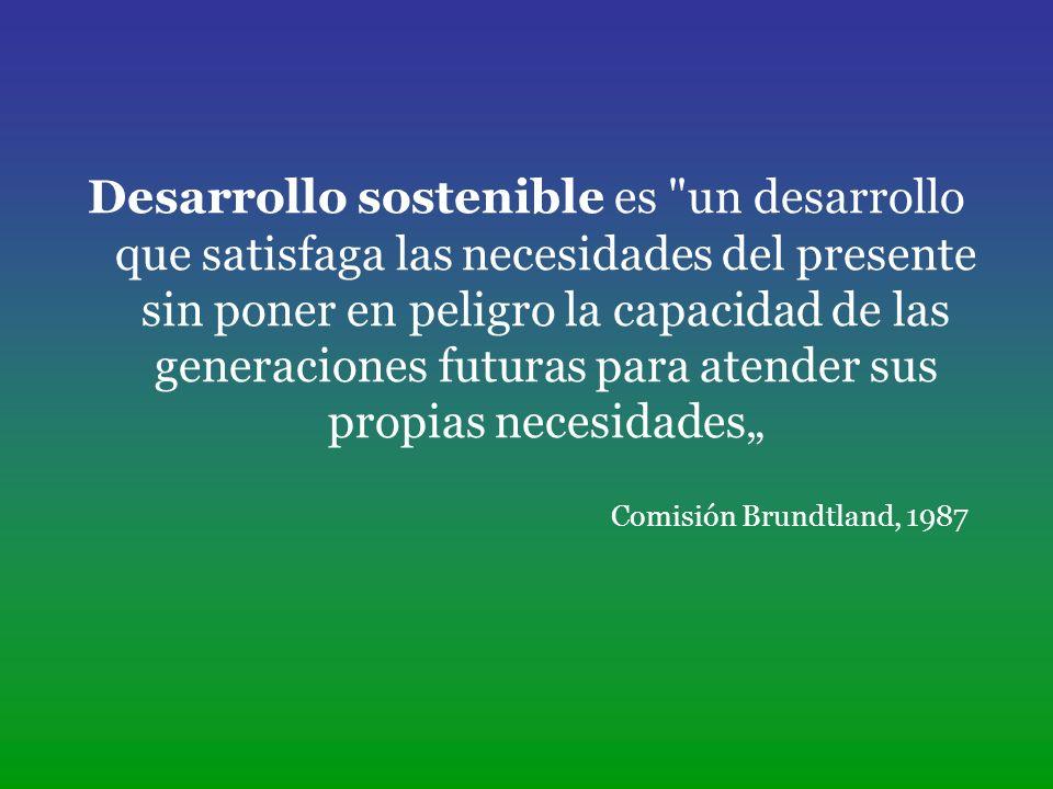 """Desarrollo sostenible es un desarrollo que satisfaga las necesidades del presente sin poner en peligro la capacidad de las generaciones futuras para atender sus propias necesidades"""""""