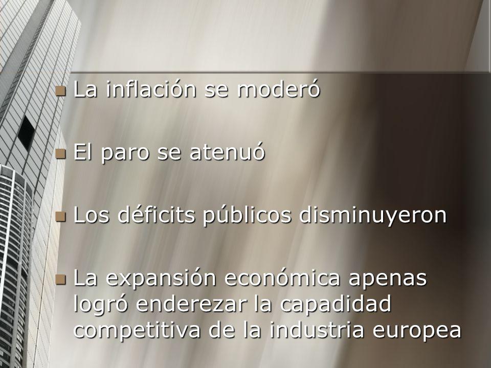 La inflación se moderó El paro se atenuó. Los déficits públicos disminuyeron.