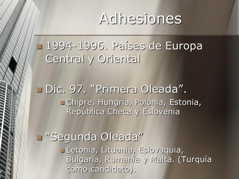 Adhesiones 1994-1996. Países de Europa Central y Oriental