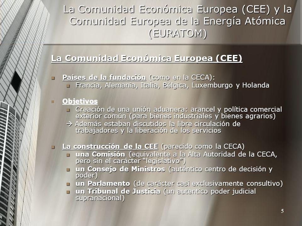 La Comunidad Económica Europea (CEE) y la Comunidad Europea de la Energía Atómica (EURATOM)