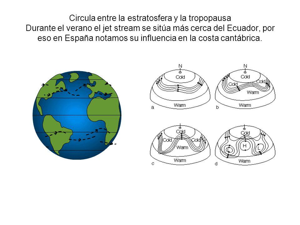 Circula entre la estratosfera y la tropopausa Durante el verano el jet stream se sitúa más cerca del Ecuador, por eso en España notamos su influencia en la costa cantábrica.
