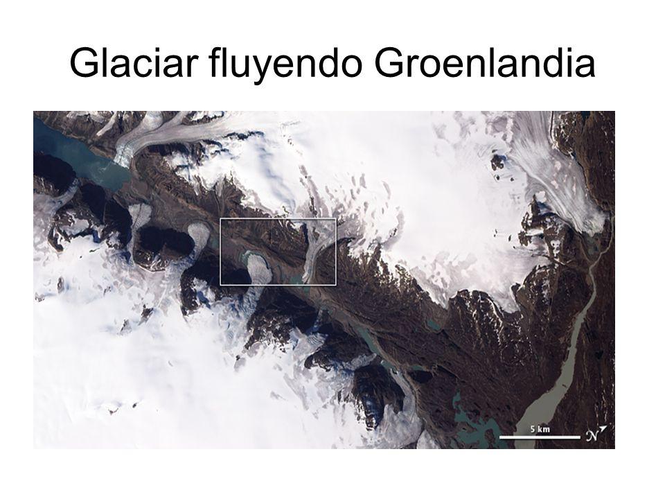 Glaciar fluyendo Groenlandia