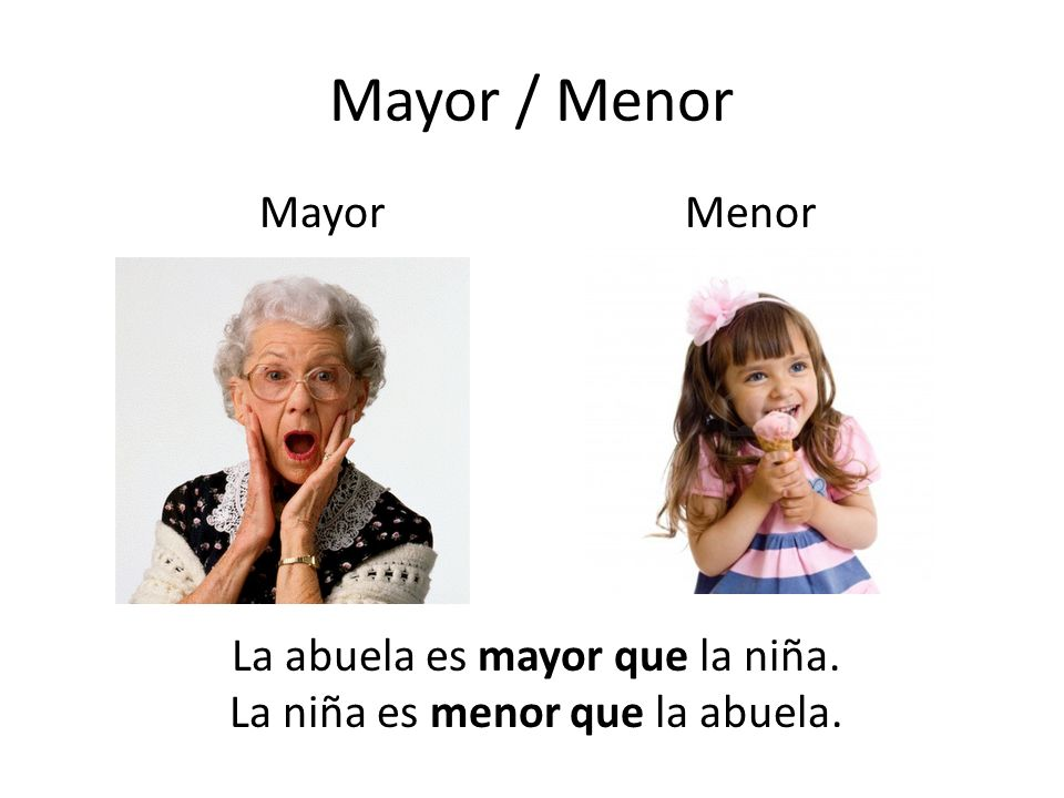 Mayor / Menor Mayor Menor La abuela es mayor que la niña.