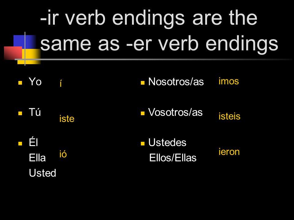 -ir verb endings are the same as -er verb endings