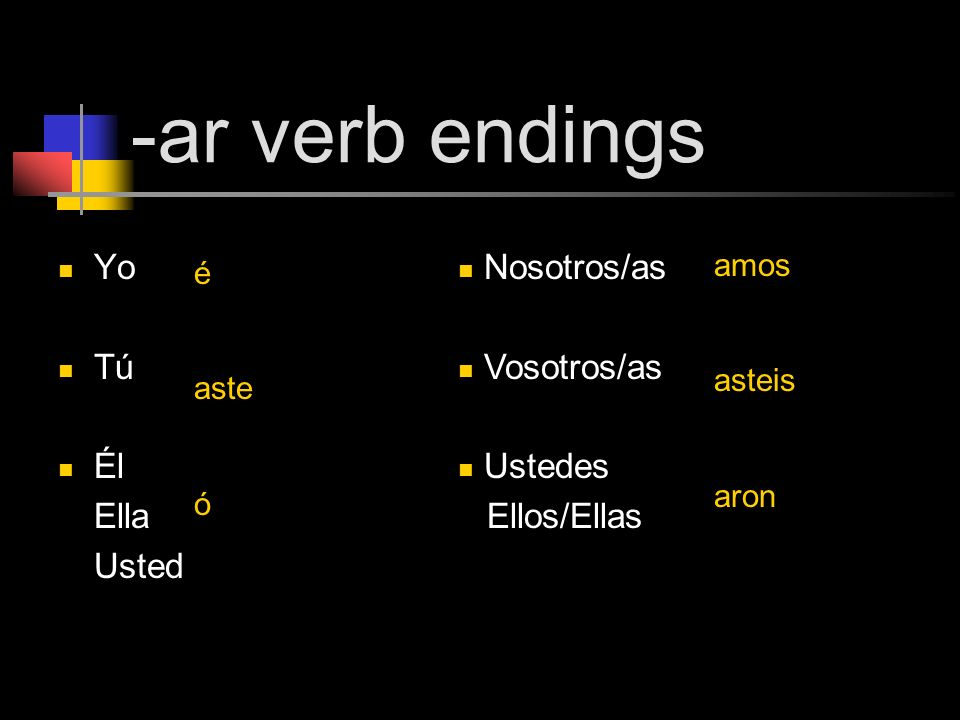 -ar verb endings Yo Tú Él Ella Usted Nosotros/as Vosotros/as Ustedes