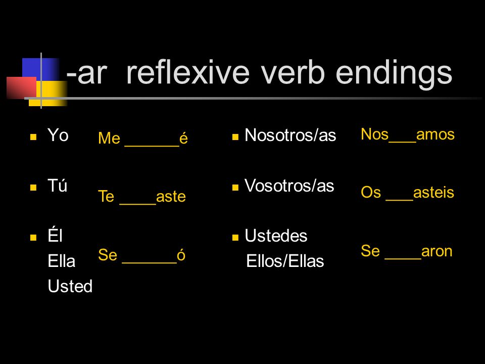 -ar reflexive verb endings