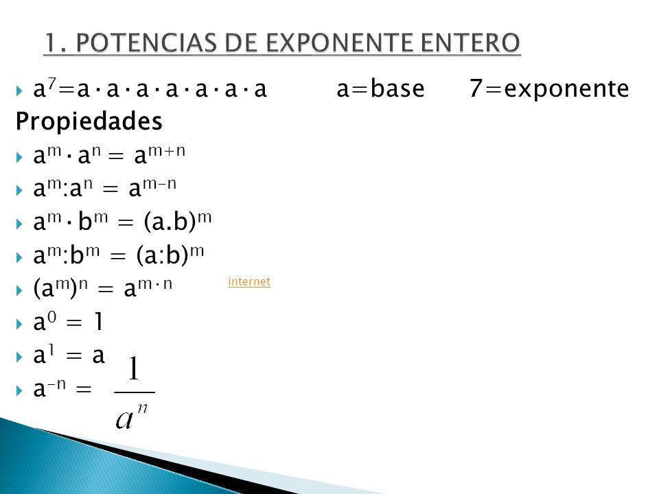 1. POTENCIAS DE EXPONENTE ENTERO