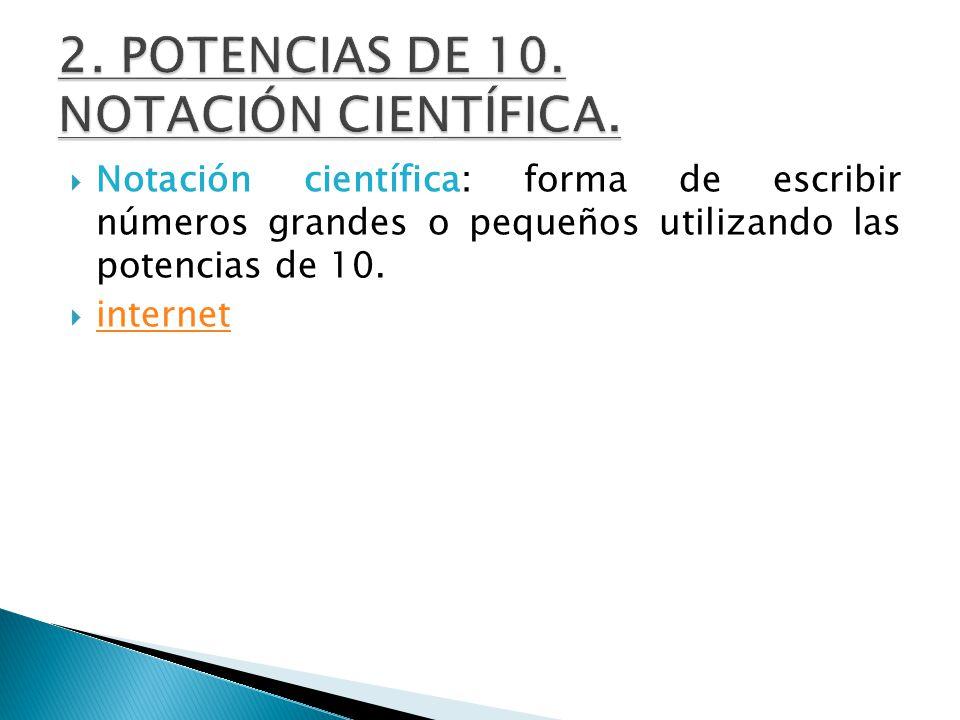 2. POTENCIAS DE 10. NOTACIÓN CIENTÍFICA.