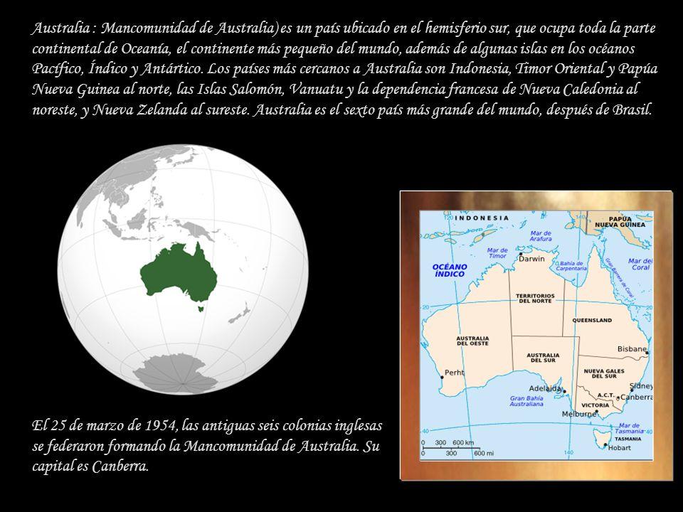 Australia : Mancomunidad de Australia) es un país ubicado en el hemisferio sur, que ocupa toda la parte continental de Oceanía, el continente más pequeño del mundo, además de algunas islas en los océanos Pacífico, Índico y Antártico. Los países más cercanos a Australia son Indonesia, Timor Oriental y Papúa Nueva Guinea al norte, las Islas Salomón, Vanuatu y la dependencia francesa de Nueva Caledonia al noreste, y Nueva Zelanda al sureste. Australia es el sexto país más grande del mundo, después de Brasil.