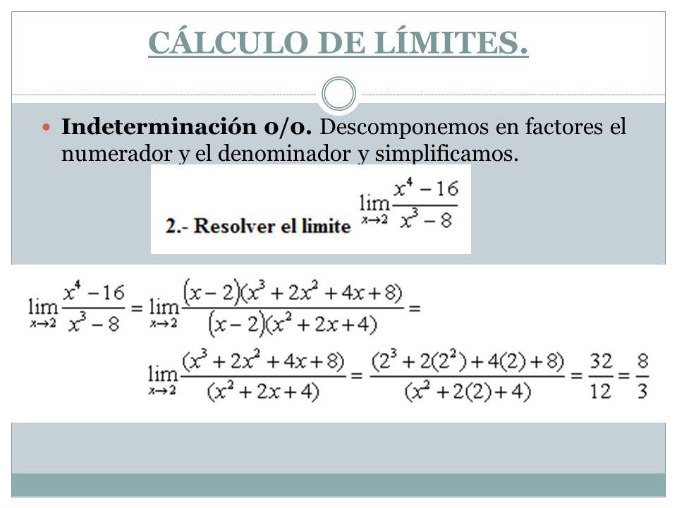 CÁLCULO DE LÍMITES. Indeterminación 0/0.