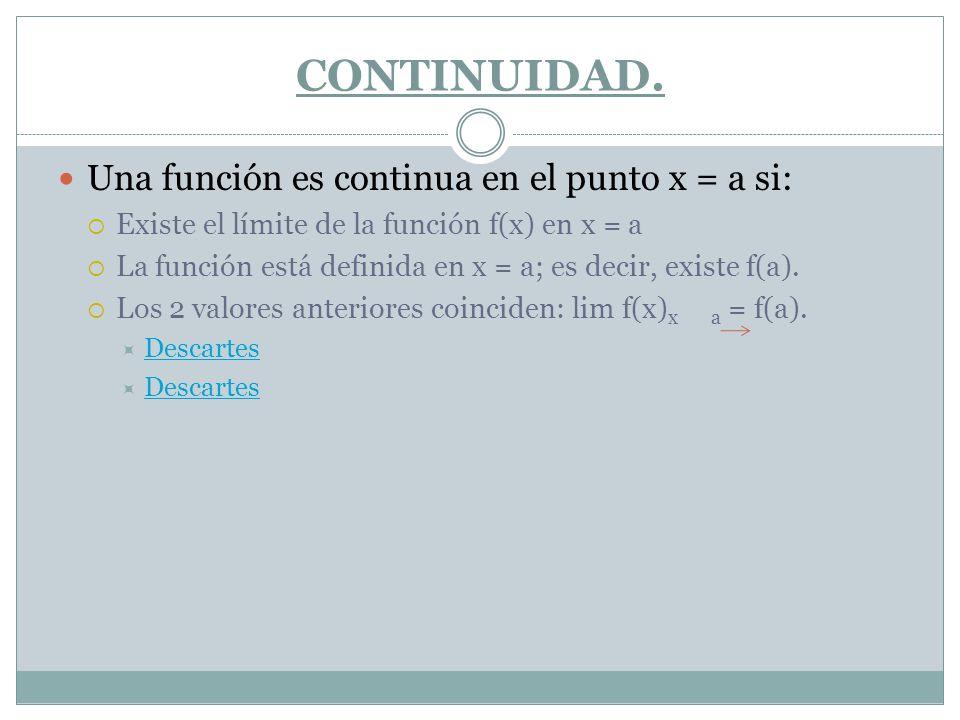 CONTINUIDAD. Una función es continua en el punto x = a si: