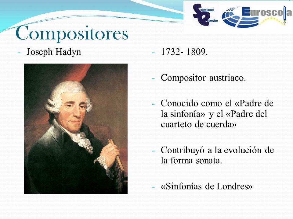 Compositores Joseph Hadyn 1732- 1809. Compositor austriaco.
