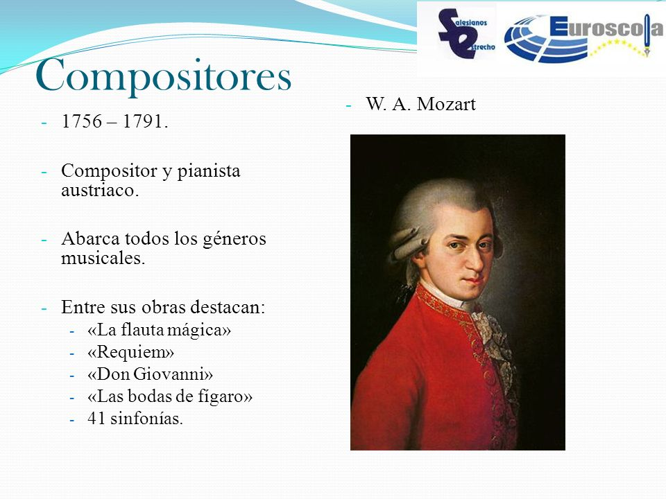 Compositores W. A. Mozart 1756 – 1791.