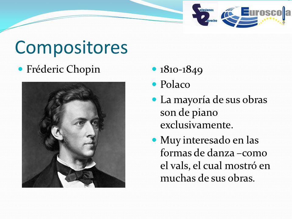 Compositores Fréderic Chopin 1810-1849 Polaco