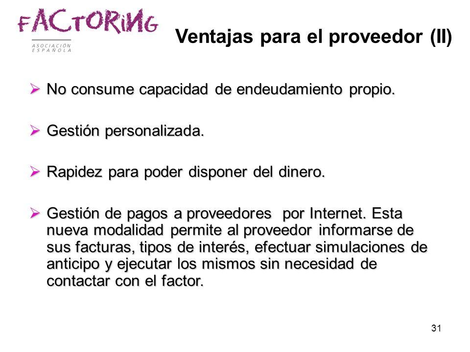 Ventajas para el proveedor (II)