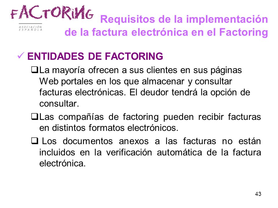 Requisitos de la implementación de la factura electrónica en el Factoring