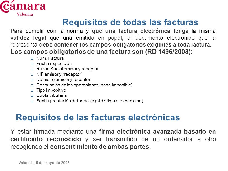 Requisitos de todas las facturas