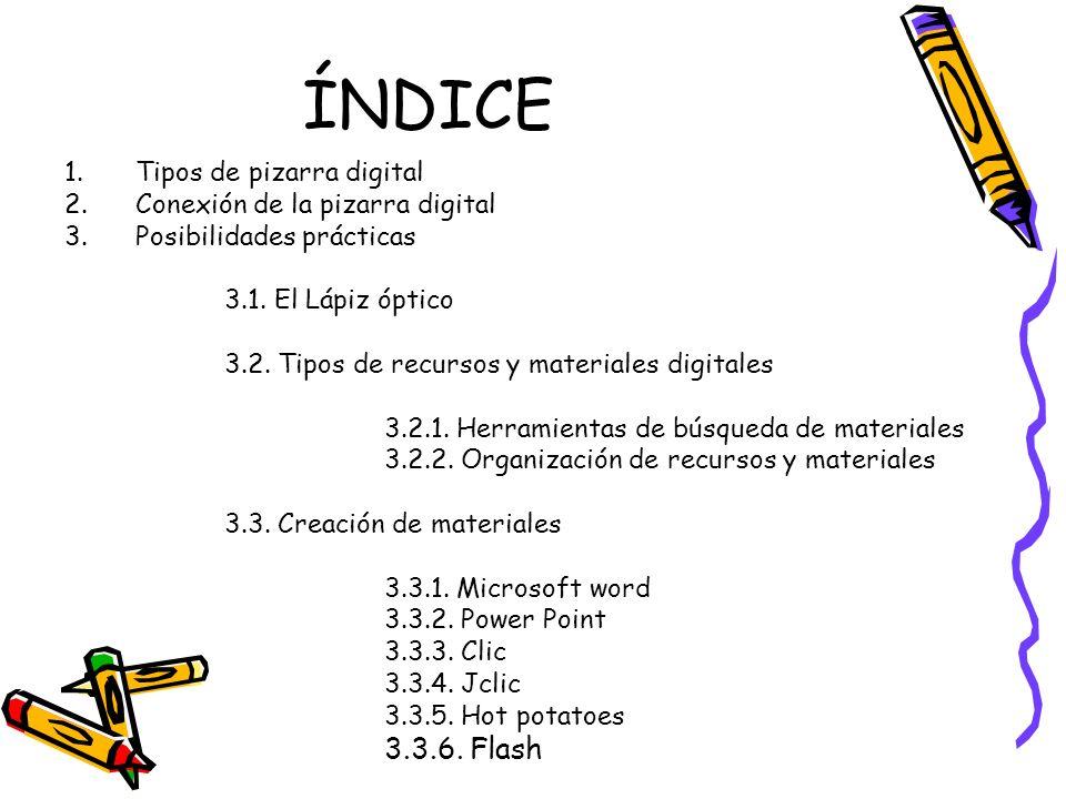ÍNDICE 3.3.6. Flash Tipos de pizarra digital