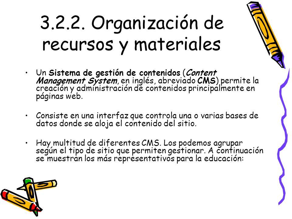 3.2.2. Organización de recursos y materiales