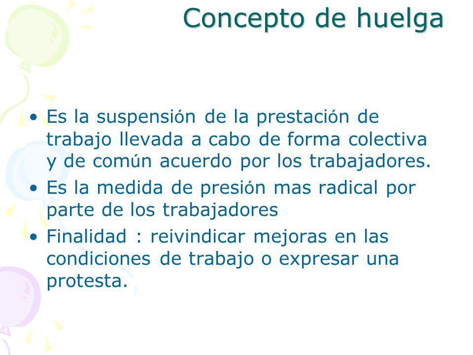 Concepto de huelgaEs la suspensión de la prestación de trabajo llevada a cabo de forma colectiva y de común acuerdo por los trabajadores.