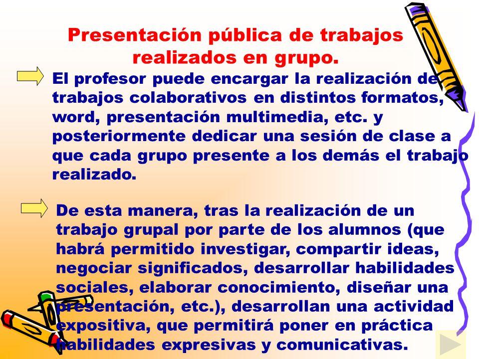 Presentación pública de trabajos realizados en grupo.
