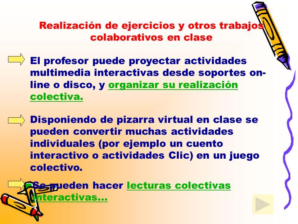 Realización de ejercicios y otros trabajos colaborativos en clase