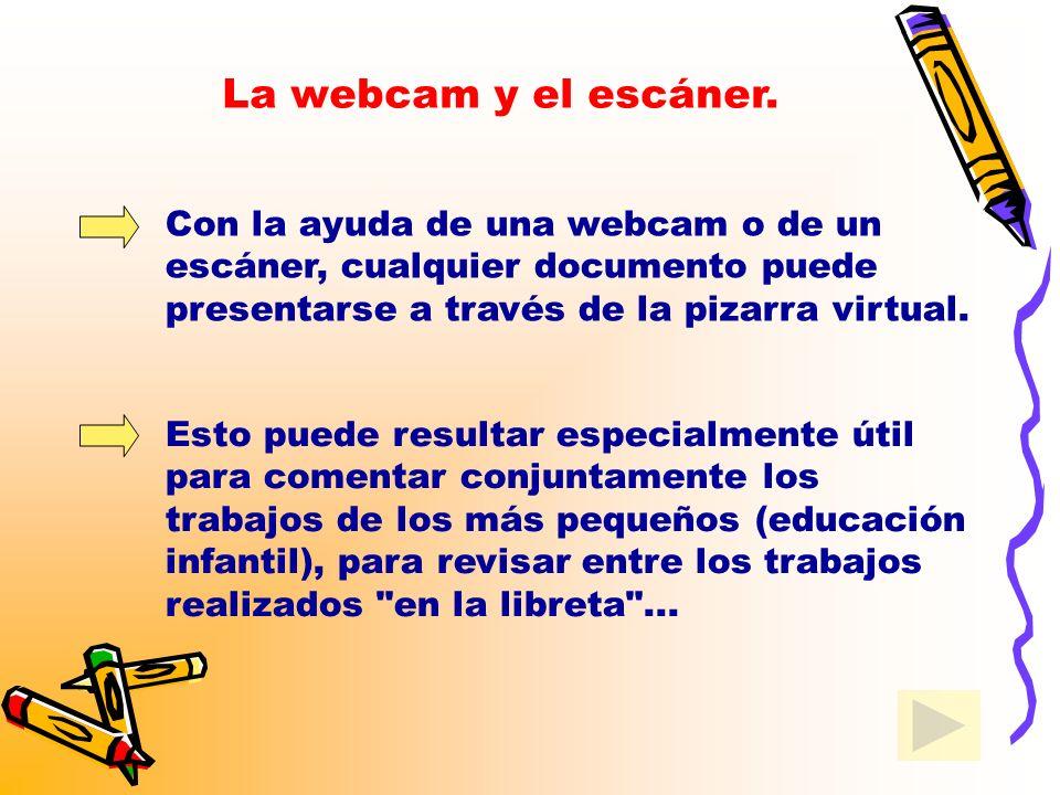 La webcam y el escáner. Con la ayuda de una webcam o de un escáner, cualquier documento puede presentarse a través de la pizarra virtual.