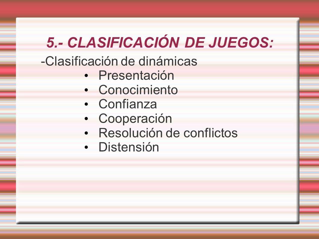5.- CLASIFICACIÓN DE JUEGOS: