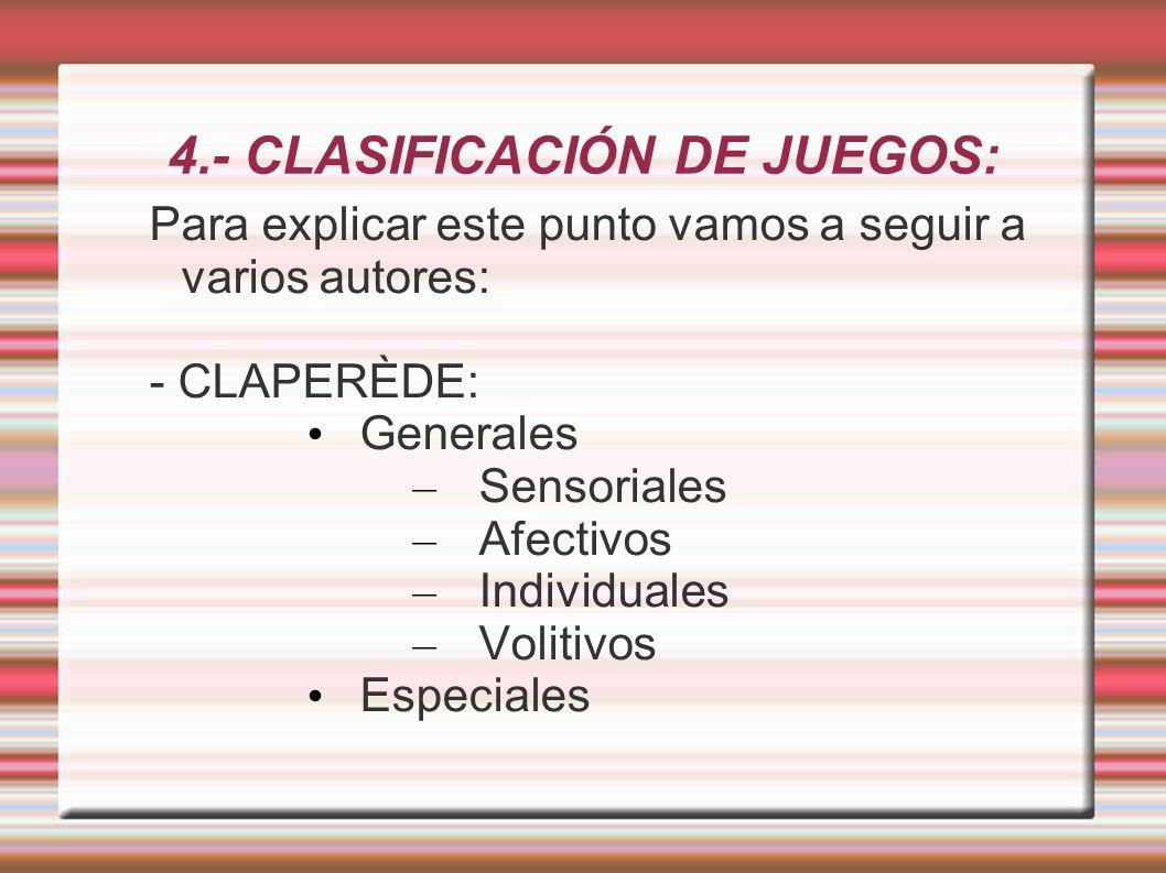 4.- CLASIFICACIÓN DE JUEGOS: