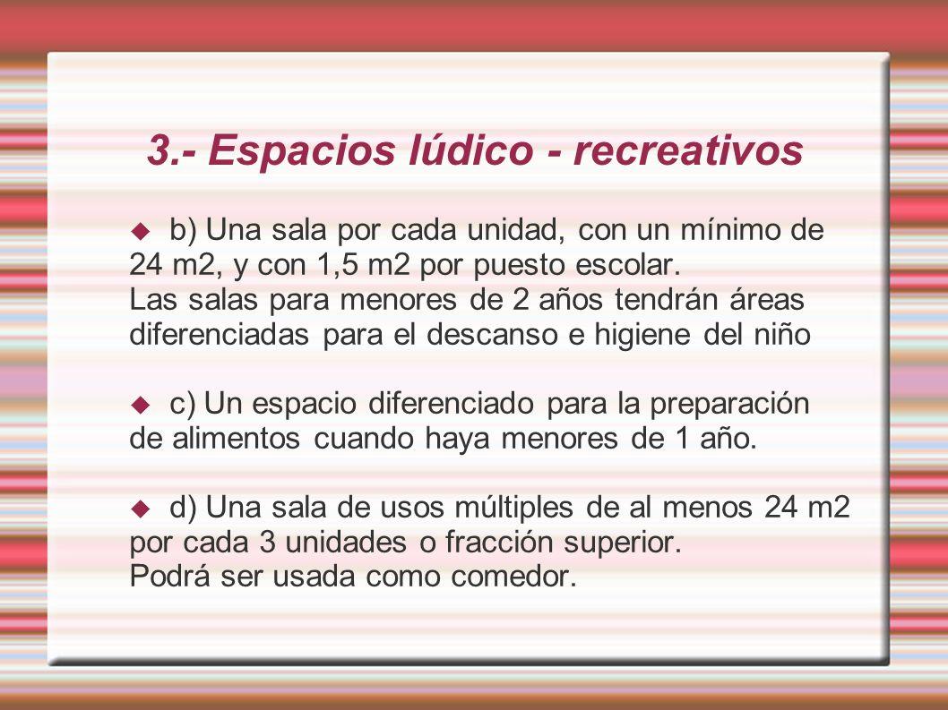 3.- Espacios lúdico - recreativos