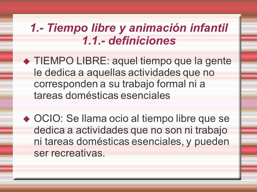 1.- Tiempo libre y animación infantil 1.1.- definiciones