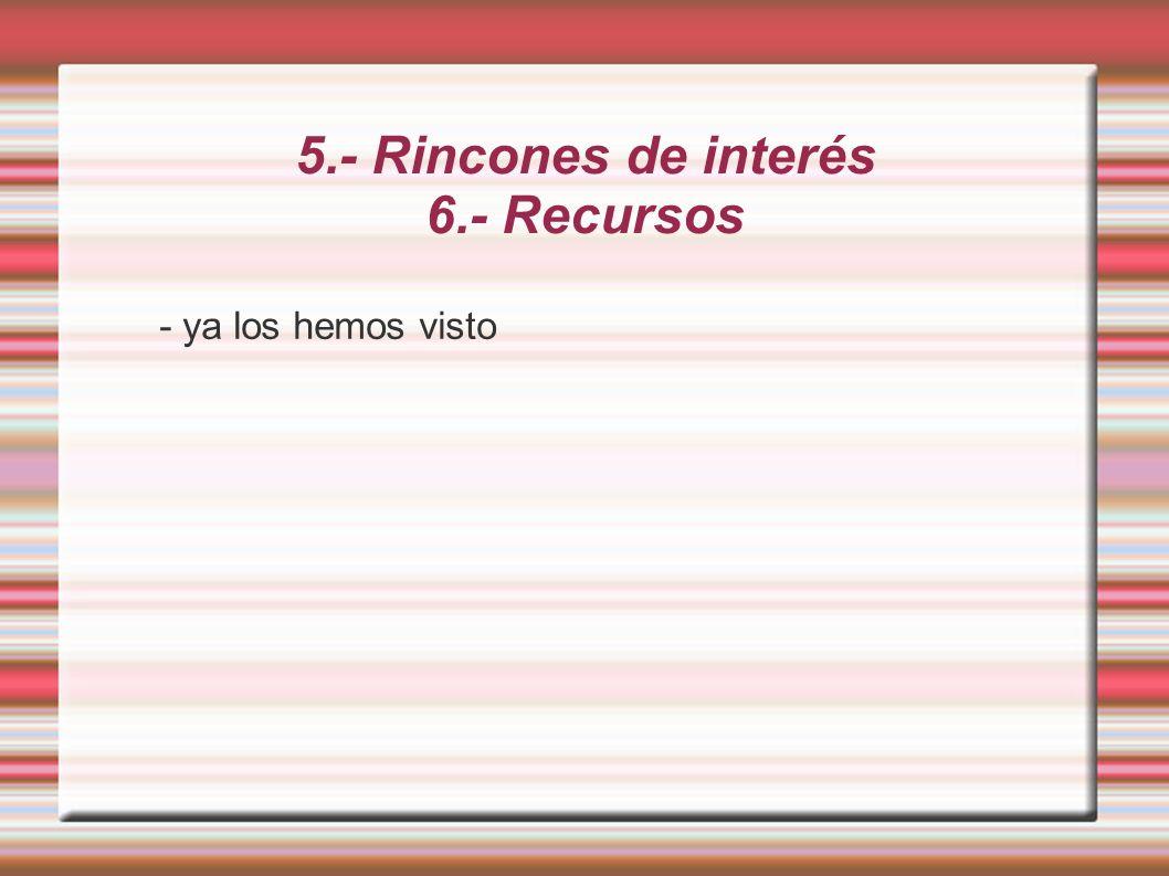 5.- Rincones de interés 6.- Recursos