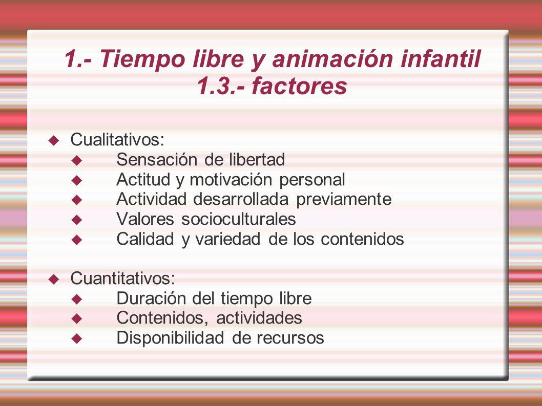 1.- Tiempo libre y animación infantil 1.3.- factores