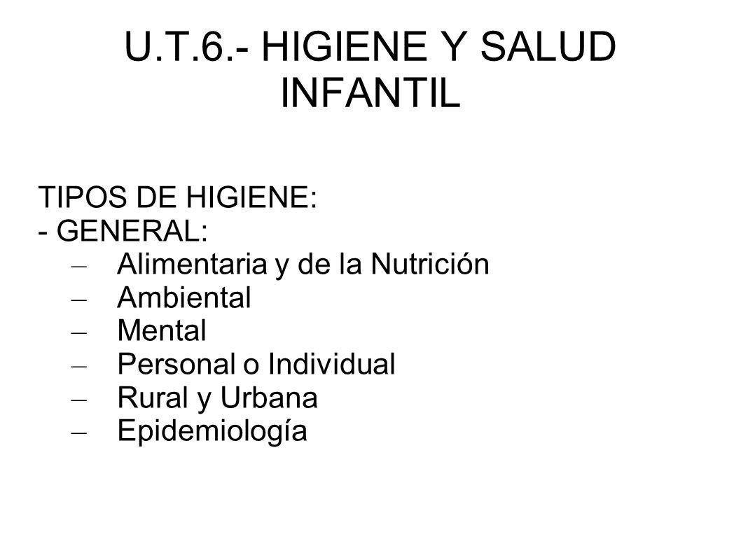 U.T.6.- HIGIENE Y SALUD INFANTIL