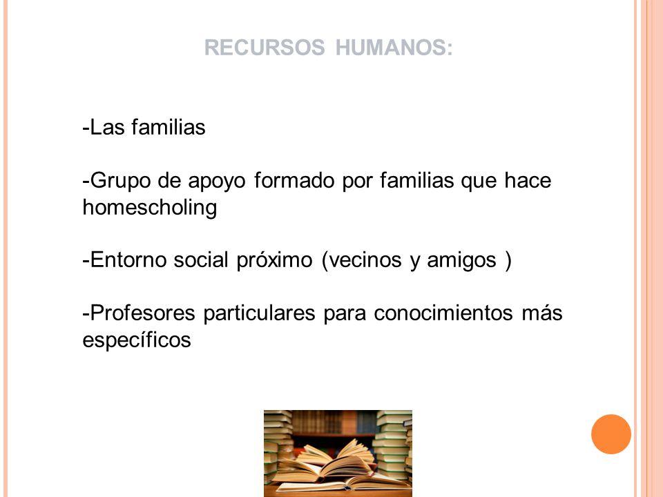 RECURSOS HUMANOS:Las familias. Grupo de apoyo formado por familias que hace homescholing. Entorno social próximo (vecinos y amigos )